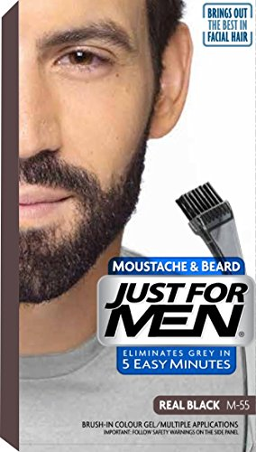 Just For Men M55 Moustache and Beard Facial Hair Color Real Black ...