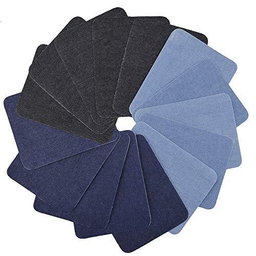 Pawaca 12 Pezzi 3 Colori Toppa termoadesiva Denim Cotone Toppe termoadesive Kit di Riparazione,...