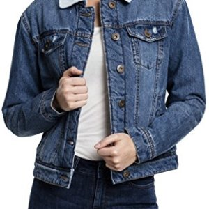 Urban Classics Damen Ladies Sherpa Denim Jacket Jeansjacke
