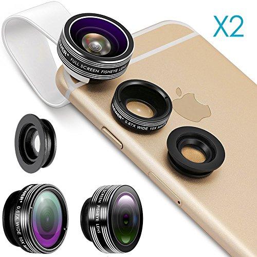 Neewer 2 Piezas 3-En-1 Clip-on Lente Kit para Teléfonos Inteligentes,Incluye:(2) Lente Ojo De Pez De 180 Grados +(2) 2 En 1 Macro Lente&Lente Gran Angular+(2) Portalentes