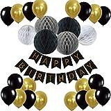 Recosis Happy Birthday Girlande mit Luftballons Latexballons und Wabenbälle Papier für Geburtstag Dekoration - Schwarz Sie können mit ihnen Ihre Geburtstagsparty schmücken, Ihnen eine unvergessliche party bringen.  Produktdetails:  Happy Birthday Gir...