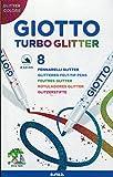 Giotto 4258 00 Turbo Glitter Fasermaler Etui, 8-er Set, farbig sortiert