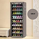 Sasimo 9-Tier 36-Pair Large Shoe Rack Shoe Storage Organizer Cabinet Tower with Non-Woven Fabric Cover (Shoes Rack/Shoes Shelf)(Grey)