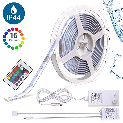 B.K.Licht - LED Stripes 5m - Lichterkette - Lichtleiste Band - Lichtschlauch mit Farbwechsel Inkl. Fernbedienung - RGB LED Streifen Leiste selbstklebend IP20/IP44