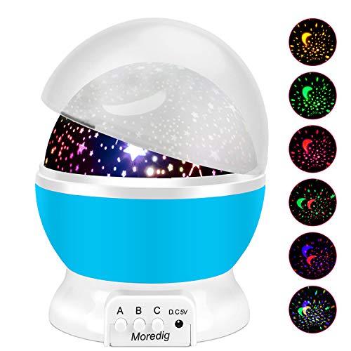 Moredig - Lampada Stelle Bambini, 360° Rotazione Proiettore Luci Bambini con 8 Modalità Romantica...