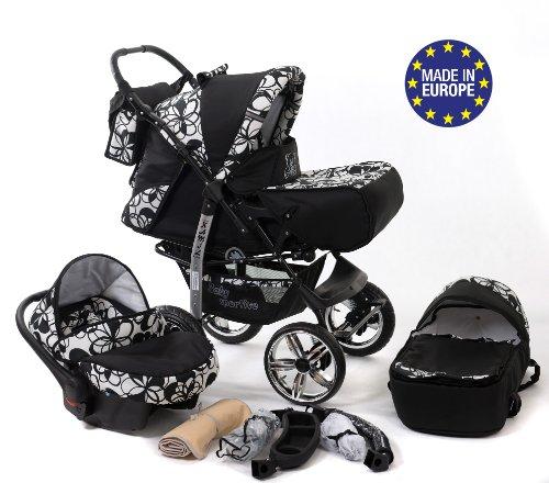 Baby Sportive - Passeggino 3 in 1 con seggiolino e accessori con fantasia floreale, colore: Nero