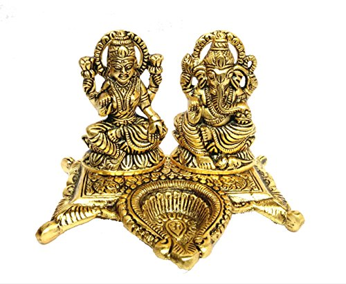 RCI Handicrafts White Metal Gold Plated Laxmi Ganesh Chocki Diya God Idol Exclusive Gift For Diwali, Corporate Gift And Wedding Return Gifts