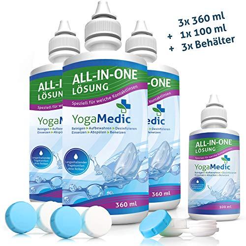 EINFÜHRUNGSANGEBOT: YogaMedic Kontaktlinsen-Pflegemittel für weiche Linsen 3x 360ml, 1x 100ml Reisegröße, 3x Behälter - Kombilösung mit Panthenol für ein komfortables Tragegefühl