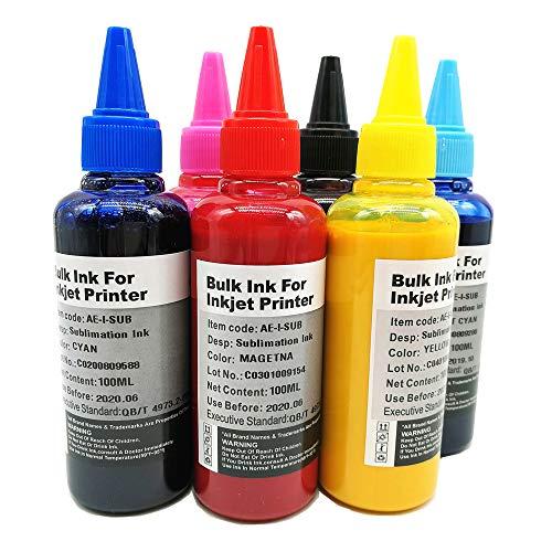6 x 100 ml inchiostro a sublimazione compatibile con stampanti Epson 6 colori, inchiostro a...