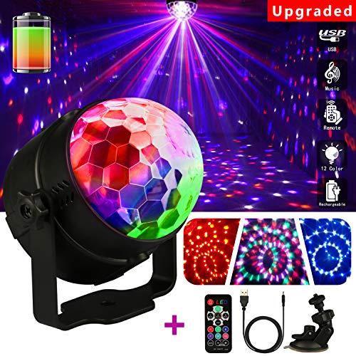 Luci da Palco Palla,Emooqi Lampada da Palco luci discoteca led Rgb USB Luce 7 Modalità+360°Ventosa...