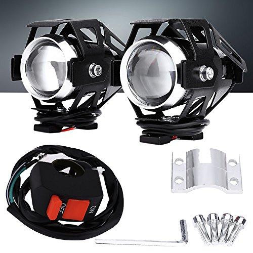 2x Faretti NERI Aggiuntivi Moto Universali a LED Fari di Profondità per tutte le moto