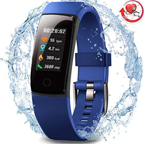 MorePro Wasserdichter Aktivitäts-Tracker, Farbdisplay Fitness Tracker mit Herzfrequenz-Blutdruckmessgerät, Schwimmen Smart Armband Pedometer Uhr mit Schlaf-Monitor für Frauen Männer Kinder, Blau