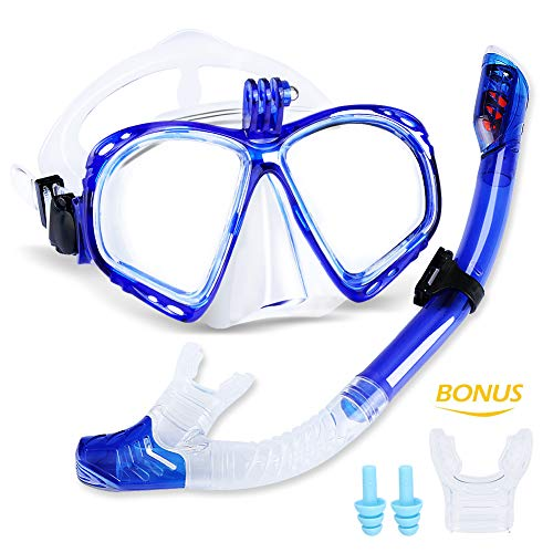 Maschera Subacquea da Snorkeling con Boccaglio, Unisex, Professionale, Compatibile Foto Camera per GoPro Hero, Adulti, con Lenti in Vetro Temperato, Colore Blu--meilianeu