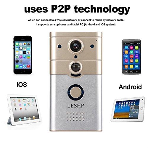 LESHP Timbre Video Portero Timbre Intercomunicador Electrónico (Inalámbrico Wifi, Detección de Movimientos, P2P, HD 720P, IR Visión Nocturna, Desbloquo Remoto) Seguridad Hogar Pulsador Inteligente