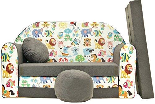 PRO COSMO A5Bambini Divano Letto con Pouf/poggiapiedi/Cuscino, Tessuto, Multicolore, 168x 98x...