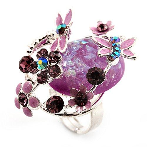 Avalaya - Anillo de cóctel con diseño de Flores y Mariposas (Plata y Morado)