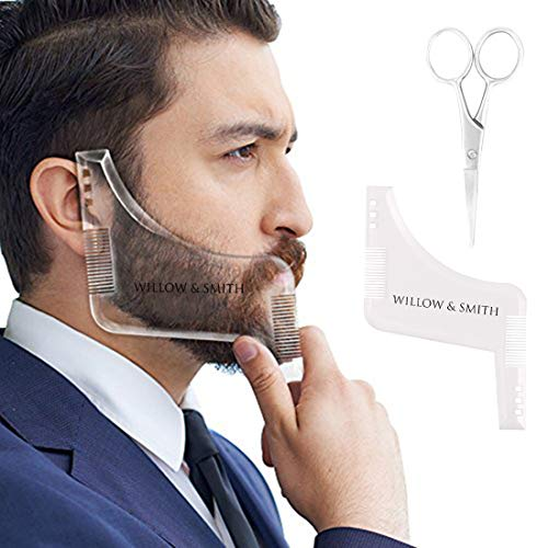 Willow & Smith Beard Shaping Template Plus Beard Comb With Scissor All-In-One Tool for Men Boys (Design 1)