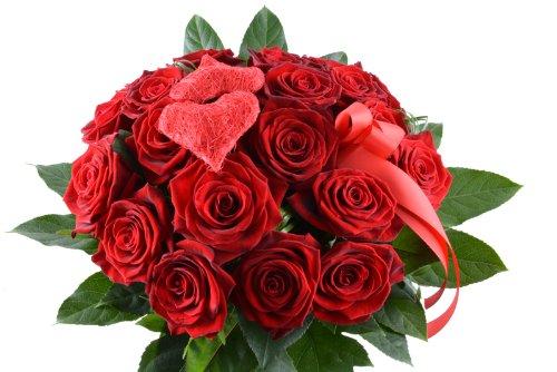 floristikvergleich.de Blumenversand – Blumenstrauß – I Love You / Ich liebe Dich- mit 15 Rosen rot Red Naomi – mit Gratis – Grußkarte zum Wunschtermin verschicken