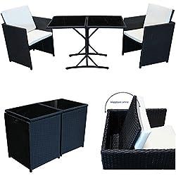 POLY RATTAN Sitzgruppe von SVITA Essgruppe Set Farbwahl - Cube Sofa-Garnitur Gartenmöbel Lounge Farbwahl (2er Garnitur, Schwarz)