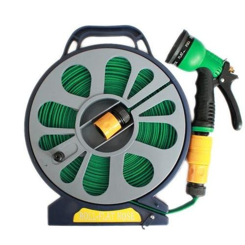 UK 50FT Flat Garden Hose Pipe & Reel with Spray Gun Outdoor Watering 15M Hose Pipe