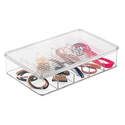 mDesign Hair Care and Accessories, Organizer Box for Bathroom Vanity to Hold Clips, Hot Rollers, Elastics, Bobby Pins - Clear