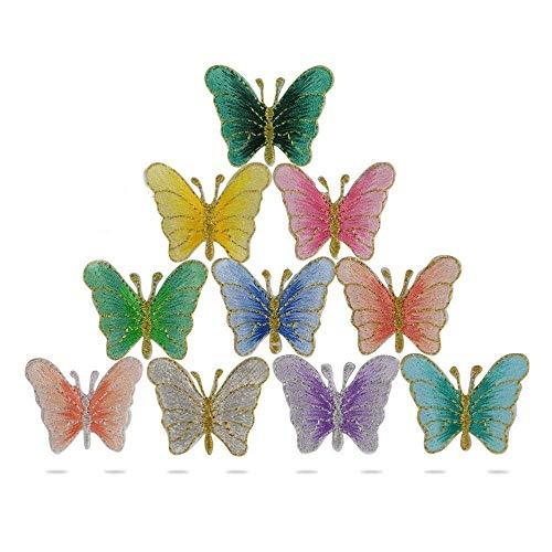 WopenJucy 10 Pcs Parches Pegatinas Apliques Bordados Termoadhesivos de Mariposa para Decoración de Ropa Chaquetas Vestidos Cazadoras Vaqueros