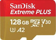 SanDisk Extreme PLUS - Tarjeta de memoria microSDXC de 128GB con adaptador SD, A2, hasta 170MB/s, Class 10, U3 y V30