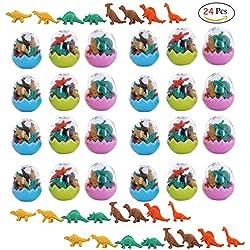 Clerfy Acc 24 Huevos Dinosaurio con poca Goma Juguete Dinosaurio Mini borrar Borrador lápiz Juguete para niños Fiesta a los niños Fiesta cumpleaños Rellenos Bolsas Regalo cumpleaños para niños niñas