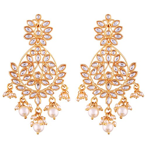 I Jewels Gold Plated Kundan Chandbali Earrings for Women (E2465W)