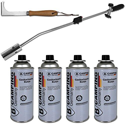 TW24 Unkrautvernichter - Unkraut - Unkrautbrenner mit 4 Gaskartuschen - inkl. Plattenfugenreiniger