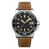Undone Men's Automatic Analog Watch Steel Vintage Leather Diver Aqua 1960
