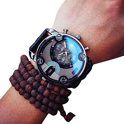 Ndier Reloj de palso Militar y Deportivo, Reloj de Grande Esfera de Acero Inoxidable con Correa de Piel sintética para Mujer y Hombre