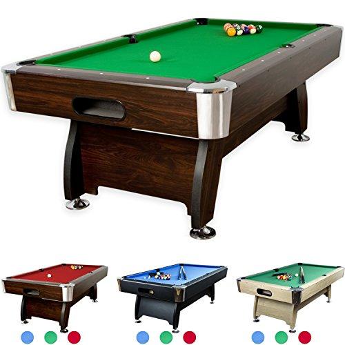 """8 ft Billardtisch \""""Premium\"""" + Zubehör, 9 Farbvarianten, 244x132x82 cm (LxBxH), dunkles Holzdekor, grünes Tuch\"""""""