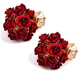 Youbella Rose Shape Two Sided Red Gold Plated Stud Earrings For Girls And Women