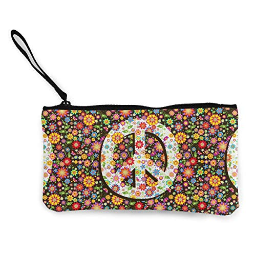 TTmom Portamonete da Donna, Flowers Print And Peace Symbol Pattern Canvas Coin Purse Assorted Wallet...