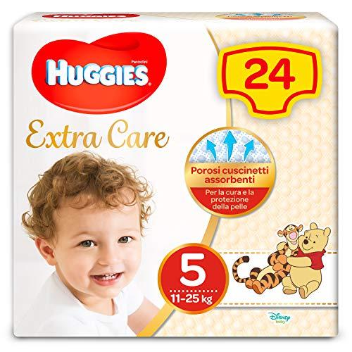 Huggies Pannolini Extra Care, Taglia 5 (11-25 Kg) - Confezione da 24 Pezzi