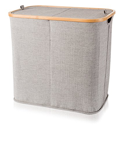 Möve Bamboo Zweigeteilte Wäschetruhe 54 x 33 x 50 cm aus Bambus mit Canvas, Grey