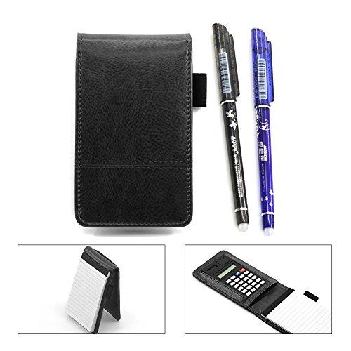 Laconile Kleines Taschen-Notizbuch in Kunstleder-Einband mit Schreibblock, Taschenrechner und löschbaren Gelstiften 13.8*3.5cm Schwarz