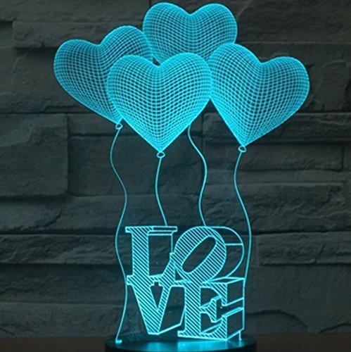 SmartEra 3D Optical Illusion 4 Love Forme e lettere AMORE illuminazione notturna colore del...