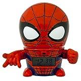Despertador infantil BulbBotz 2021425 con luz nocturna con figurita de Spiderman de Marvel con sonido característico | rojo/azul| plástico | 14 cm de altura  | chico chica