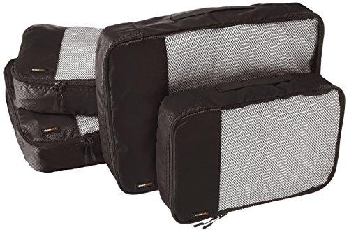 AmazonBasics Packing Cubes/Travel Pouch/Travel Organizer - 2 Medium and 2 Large, Black (4-Piece Set)