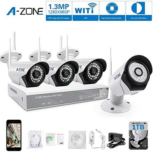 A-ZONE Kit Videosorveglianza WIFI 4 canali 960P wifi NVR + 4pcs 960P Telecamere Videosorveglianza Esterno Kit Telecamera WIFI IP con 1TB disco rigido
