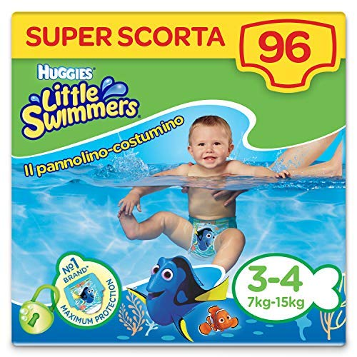 Huggies Little Swimmers Pannolini, Taglia 3-4 (3-8 kg), 96 Pannolini Costumini