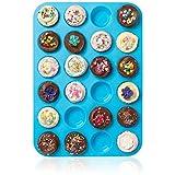 Joyoldelf Großes Mini-Muffin-Silikonblech, für 24Muffins, Antihafteffekt, hitzebeständig bis 232°C, spülmaschinenfest, mikrowellengeeignet,Blau