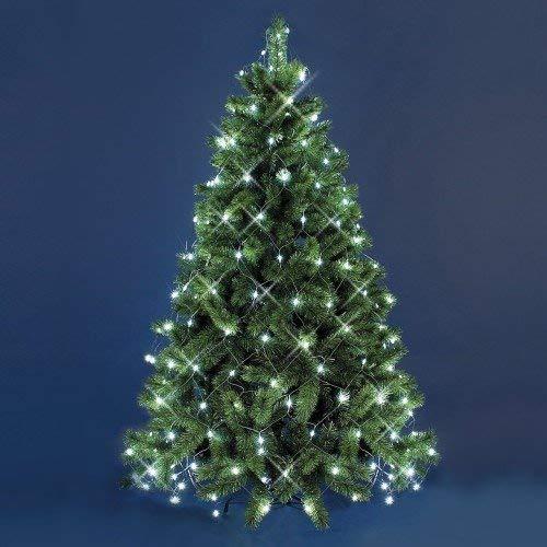 XMASKING Mantello di luci per Albero di Natale 3,8 x h. 2 m, 195 LED Bianco Freddo, Cavo Verde, Decorazione Albero, luci per Albero