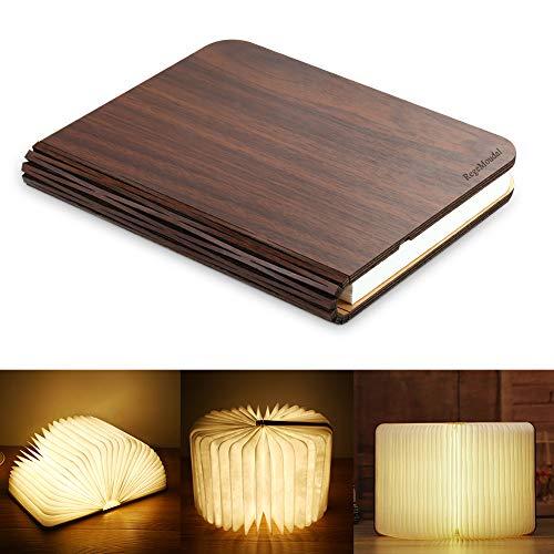 RegeMoudal Lampada da Libro Ricaricabile e Pieghevole in Legno Magnetico,LED Lampada Libro per...