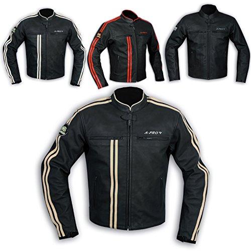 A-Pro Lederjacke Herren Biker Motorrad CE Protektoren Echtleder Thermic Custom 1
