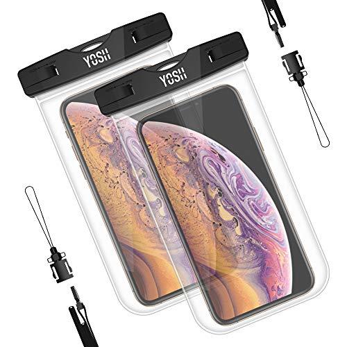 YOSH Wasserdichte Handyhülle Tasche Beutel (2 Stück) Schnorcheln Schwimmen Tauchen Kanu Unterwasser für Samsung S8 S7 S6 A5 A7 für iPhone X 8 7 6 6s Plus Lumia Huawei, bis zu 6 Zoll