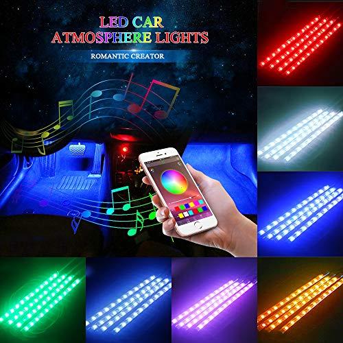 Striscia LED Auto con APP, 12 LED Luci per interni auto Musica Attivato da suono Multi-color...