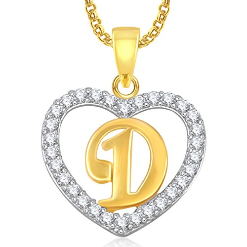 Amaal Jewellery Valentine Gifts Gold American Diamond Heart Alphabet Letter 'D' Necklace Pendant for Women Girls Girlfriend Boys Men with Chain PS0399